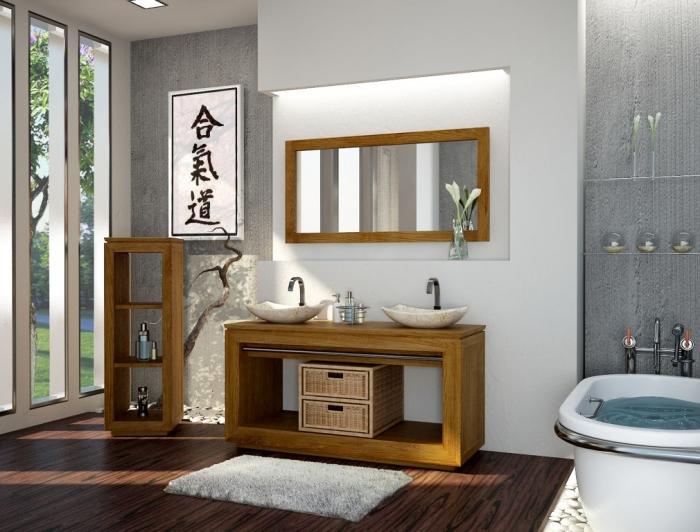 Le bois teck beau et durable pour votre salle de bain - Teck sol salle de bain ...